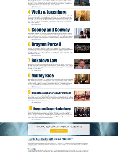 Top Mesothelioma Lawyer Rankings